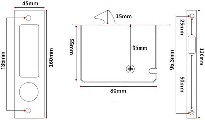 DealMux Inicio Sala de aleación de zinc puerta corredera de cristal Cerradura embutida Ajuste para el espesor de 35 mm-50 mm: Amazon.es: Bricolaje y herramientas
