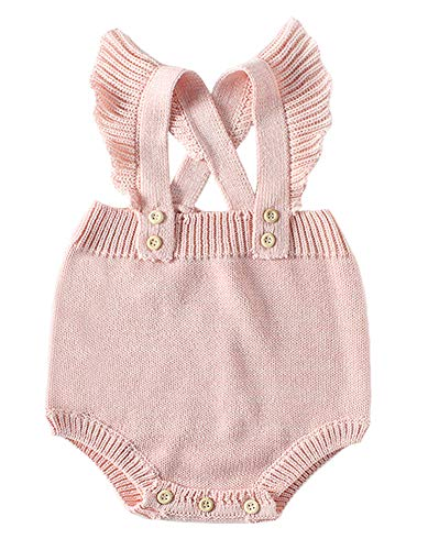 (Pinleck Baby Girls Knitted Lace Romper Cross Bandage Ruffles Jumpsuit Bodysuit Pink)