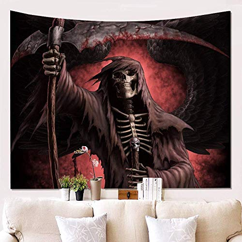 GOPPUI Wall Tapestry Wall Hanging Art Terrible Grim Reaper with Wings,Gothic Hippie Psychedelic Death Tapestries Wall Blanket for Children College Room Decor, 59X59 Inch]()