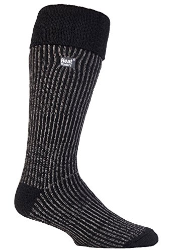 Heat Holders - Mens Thermal Knee High Winter Boot Socks 3 Colors (Ribbed Black)