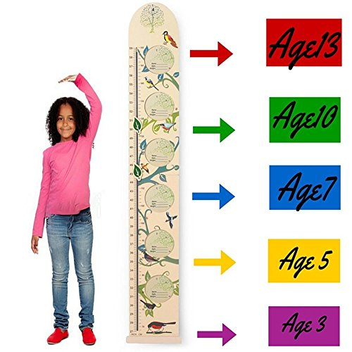 Kids Wall Wooden Growth Height Chart- Hanging Ruler for Children- Easy to Move, Foldable, Nursery Decal from HAPPYBABY-HAPPYYOU with Picture ()