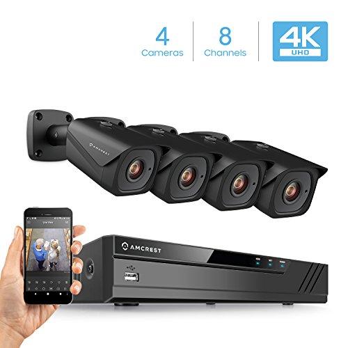 (Amcrest 8CH 4K Security Camera System w/H.265 4K (8MP) NVR, (4) x 4K (8-Megapixel) IP67 Weatherproof Metal Bullet POE IP Cameras (3840x2160), 2.8mm Wide Angle Lens, 98ft Nightvision (Black))