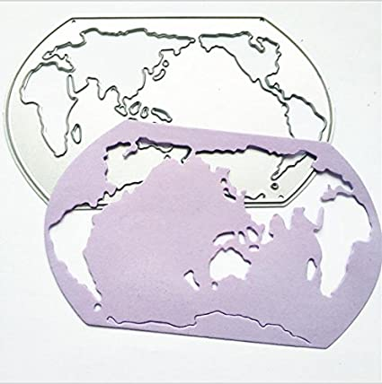 Amazon.com: World Map Metal Stencil Cutting Die for ...