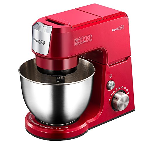 Geek Chef Mini 4-in-1 Stand Mixer: Multi-function, 2.6 Quart Stainless Steel Bowl, 7 Speeds with pulse, Die-cast Tilt Head. Includes Pouring Shield, Beater, Whisk and Dough Hook (Chefs Whisk)