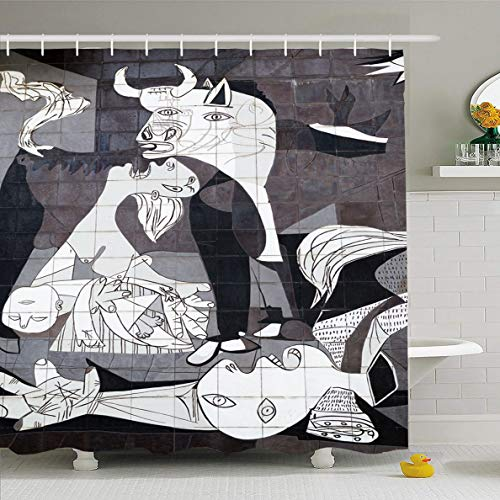 Ahawoso Shower Curtain 72x72 Inches Pablo Guernica Spain October 10 Tiled Museum Picasso Parks Spanish Abstract Cubism Painting History Waterproof Polyester Fabric Set with Hooks ()