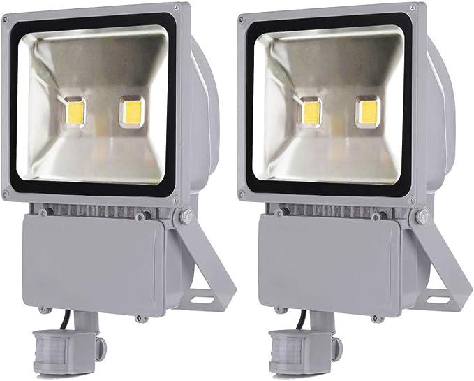 2X 100W Foco LED con Sensor Movimiento, Proyector LED Exterior de ...