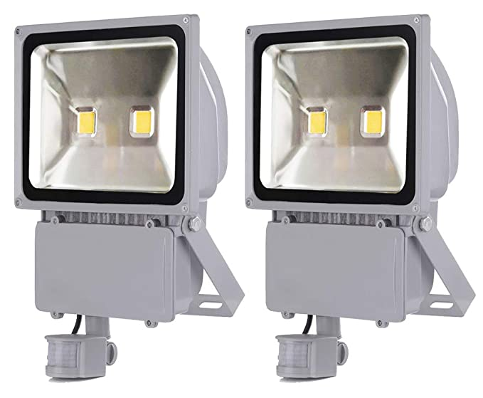 2X 100W Foco LED con Sensor Movimiento, Proyector LED Exterior de Impermeable IP65,Iluminación LED de Exterior y Seguridad, Luz LED para Patio ...