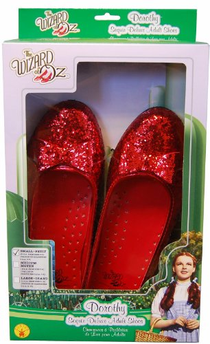 Wizard Of Oz Halloween Costumes For Adults (Wizard Of Oz, Deluxe Adult Dorothy Sequin Shoes, Red, Medium)