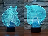 Pack of 2 Animal Horse 3D Illusion Nightlight Lamp,7 Colors Changing Lighting Table Desk Lamp for Home Decor - Best Gift for Kids/Friends/ Birthdays/Holidays