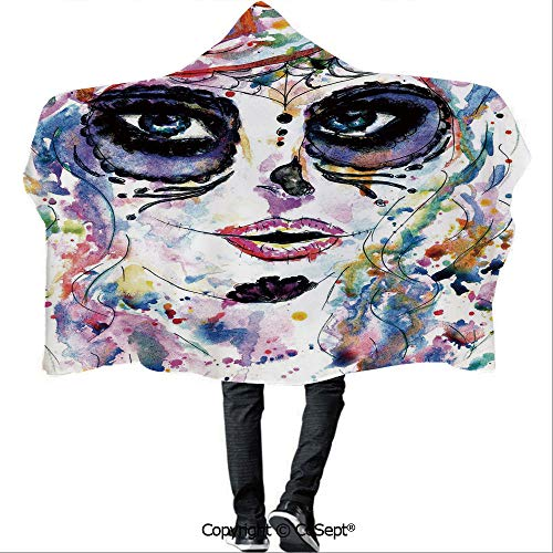 SCOCICI Wearable Hooded Blanket,Halloween Girl with Sugar Skull Makeup Watercolor Painting Style Creepy Decorative,Camping Indoor Outdoor Travel(59.05x78.74 inch),Multicolor