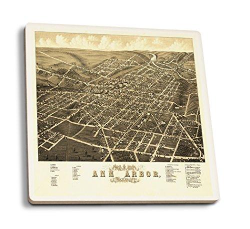 OKSLO Ann Arbor, Michigan - (1880) - Panoramic Map (Set of 4 Ceramic Coasters - Cork-b