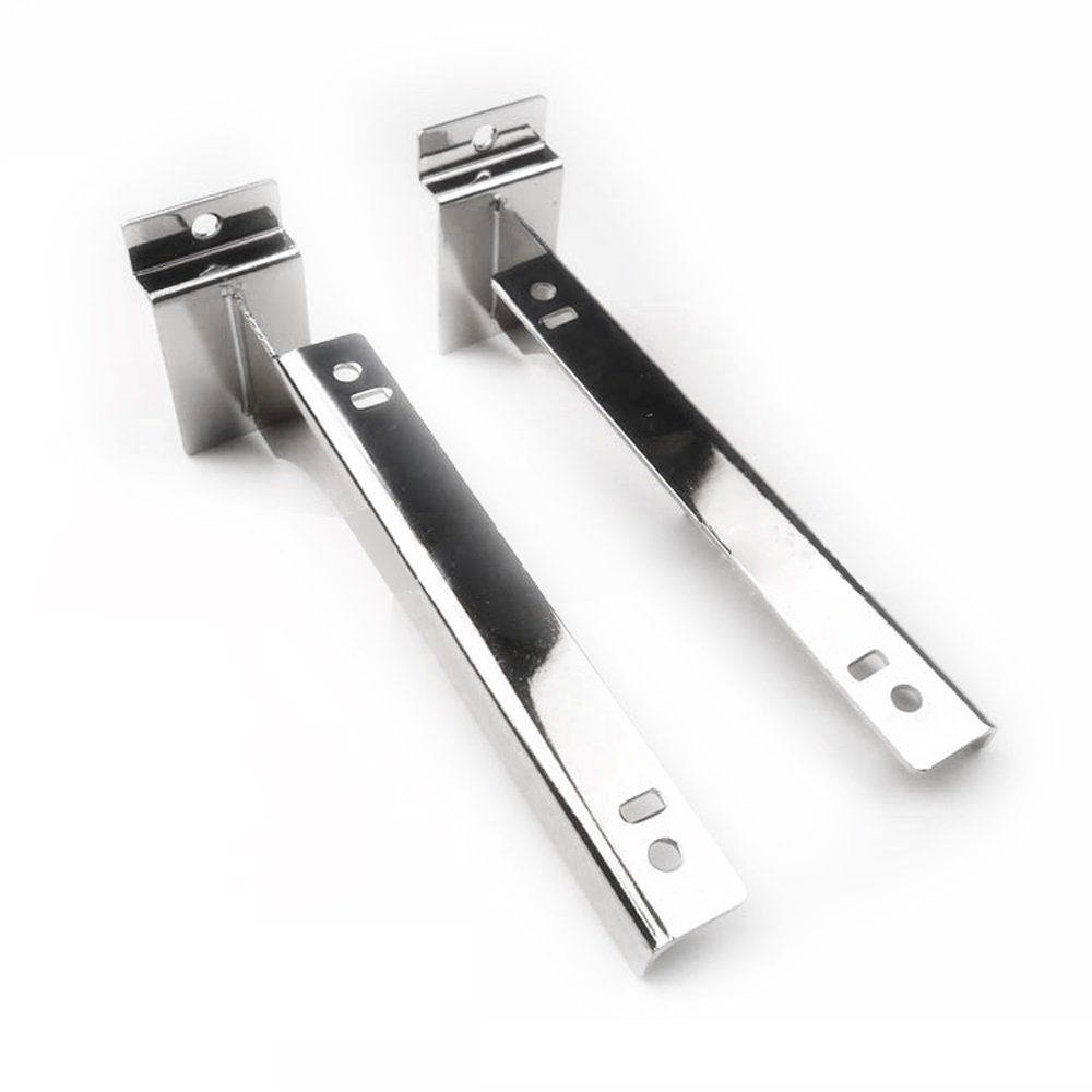 Slatwall Bracket, Cheaboom Shelf Bracket Heavy Duty Display Hooks Hangers for Panel Shelf Bench Bracket for Slat Wall 8.4'' Chrome with 5 Anti-Slip Mats(Slatwall Bracket x 2)