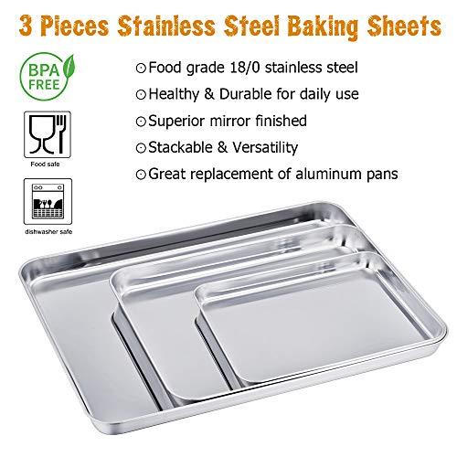Teamfar Baking Sheet Set Of 3 Stainless Steel Cookie