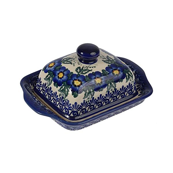 Traditional Polish Pottery, Handcrafted Ceramic Butter Dish with Lid, Boleslawiec Style Pattern, B.101.PANSY