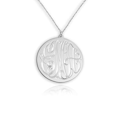 822a855f051a95 Amazon.com: Monogram Necklace 0.5 inch Hand Engraved 925 Sterling ...