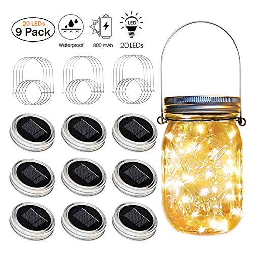 Solar Mason Jar String Lights Lid, [Upgraded] 9 Pack 20 Led Antirust Waterproof String Fairy Star Firefly Jar Lids Lights with 9 Hangers (Jars Not Included) for Patio Garden Wedding - Warm White