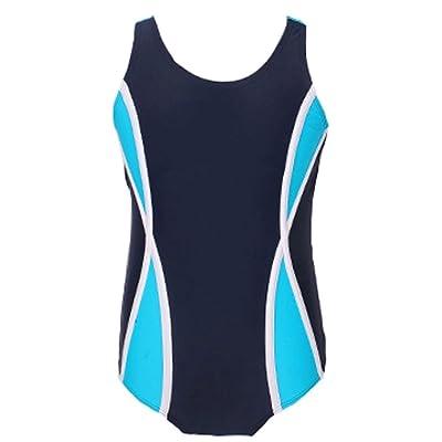 Pointss Girls' Backless One Piece Swimsuit Splice Swimwear Athletic Bathing Suit