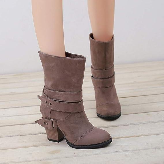 Botines Para Mujer,ZARLLE Mujer Martin Botas Zapatos De OtoñO Invierno Botines De TacóN CláSico Hebilla De CinturóN Botas Altura Aumentando Zapatos: ...