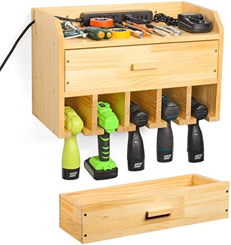 Sunix Power Tool Organizer Storage, Drill Storage Wall Mount Tool Garage Organization Drill Charging Station Wooden Tool Holder Storage with Drawer