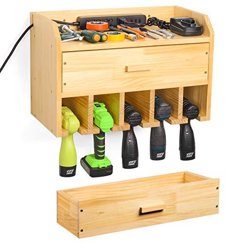 Power Tool Organizer Storage Drill Charging Station Storage Wall Mount Tool Holder Garage Organization with Drawer…