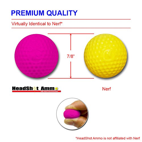 [110 Rounds] Nerf Rival Compatible Ammo by HeadShot Ammo - Bulk Pink Foam Bullet Ball Replacement Refill Pack for Apollo, Zeus, Khaos, Atlas, & Artemis Blasters (HIR, High-Impact Rounds - Hot Pink)