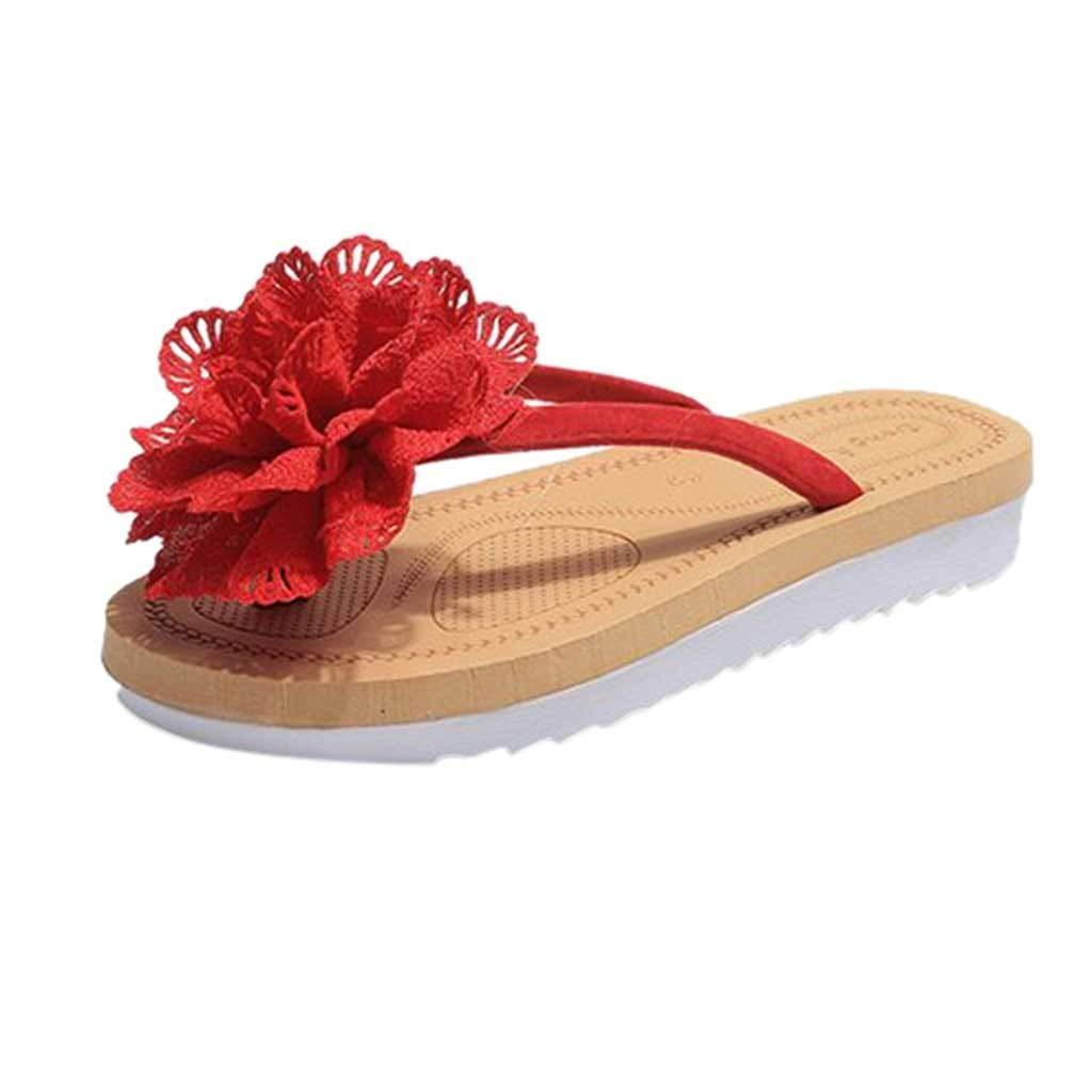 {Minikoad} Women Flat Sandals,Lady Flip Flops Slipper Beach Flower Sandals (US:5, Red)
