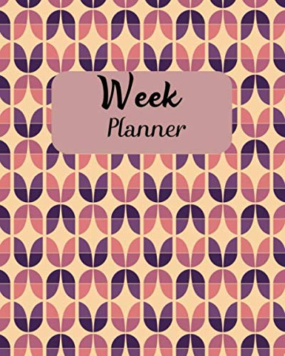 Week Planner: Retro Pattern Purple Beige Nude Weekly Task Checklist (8 x 10 inches) 120 pages (Retro Nude)
