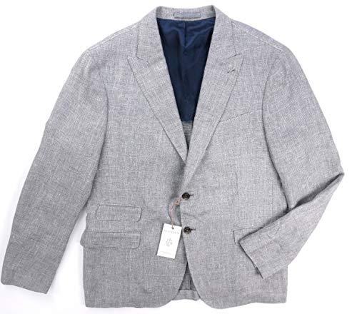 Eleventy New $1295 Platinum Linen Wool Silk Knit Zegna Fabric Blazer EU: 56