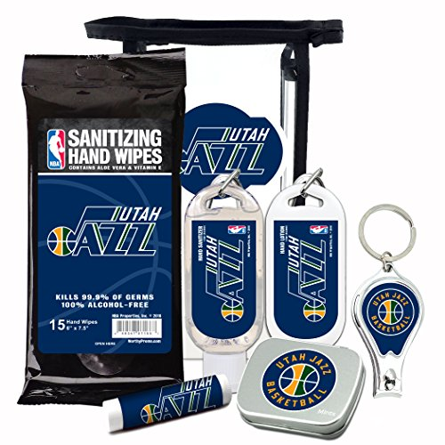Utah Jazz 6-Piece Fan Kit with Decorative Mint Tin, Nail Clippers, Hand Sanitizer, SPF 15 Lip Balm, Hand Lotion, Sanitizer Wipes. NBA Gifts for Men and Women By Worthy