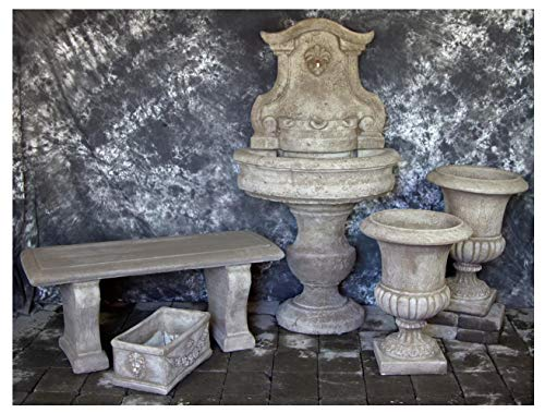 Fleur de Lis Garden Ornaments LLC Palermo Wall Fountain with Palazzo Urns, Rectangular Planter and Bench Package Number 1044 ()