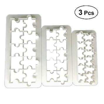 BESTONZON 3 Unids Fondant Molde de Grado Alimenticio De Plástico Molde de Pastel Geométrico Puzzle Fondant Cortador de Galletas: Amazon.es: Hogar