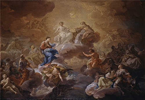 Oil Painting 'Giaquinto Corrado La Santisima Trinidad La Virgen Y Santos 1755 56' 30 x 44 inch / 76 x 111 cm , on High Definition HD canvas prints, gifts - Peter Jones Sunglasses