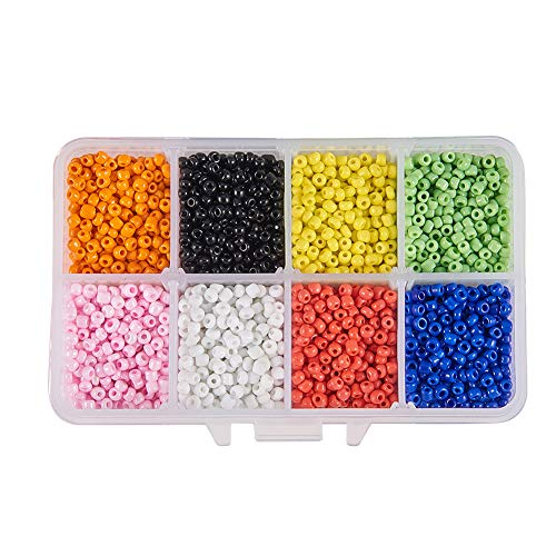 (PH PandaHall About 3600pcs 10 Color 8/0 Glass Seed Beads 3mm Opaque Craft Beads with Container Box for Bracelets Jewelry)