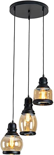BRIVOLART Industrial 3-Light Pendant Light Black Finished Ceiling Wall Light Glass E26 Base Edison Island Light Chandelier Exclude Bulb