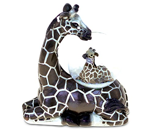 Giraffe Snowglobe Unique Mom and Child Resin Decor Hand Painted Art Souvenir Collection - Elegant Figurine Safari Theme Animal Kingdom - 45MM Savannah Snow Globe Gift For Young and Adults - 9479