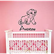 Custom Name Simba Baby Wall Decal Sticker Lion King Art Disney Decorations for Home Kids Boys Room Nursery Bedroom Personalized Decor ling6