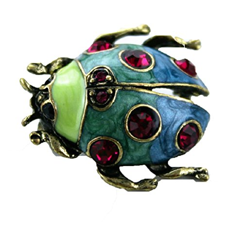 From the Heart Green & Blue Enamel LADY BUG Brooch Embellished with Red Faceted Crystals.Nice Gift for Your Ladybug:)