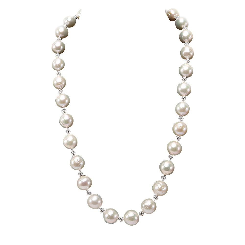 JYX 10-12mm White Round Edison Freshwater Pearl Necklace 19'' with Czech Zircons