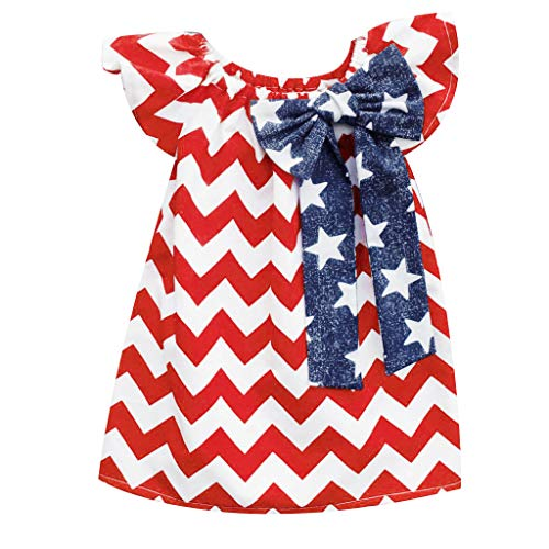 Baby Girls Outfit Clothes Casual Striped Ruffle Bowknot Top Dress American Flag Patriotic Dresses for Little Girls Red -
