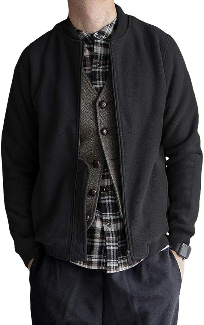 Mens Velveted Warm Sweater Cardigan Full Zip Mock Neck Slim Long Jacket Coat Top