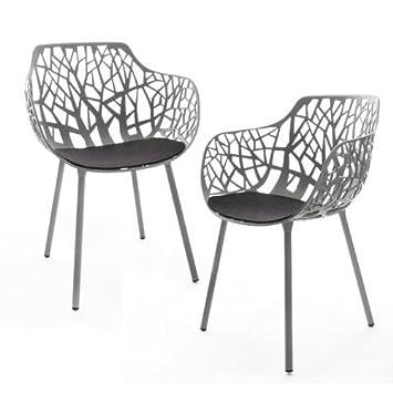 Forest - 2 sillones de jardín gris metalizado/con ...
