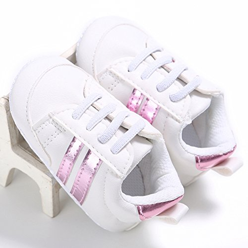 Fire Frog Baby Fashion Sneaker - Zapatos primeros pasos de Piel Sintética para niño Rosa