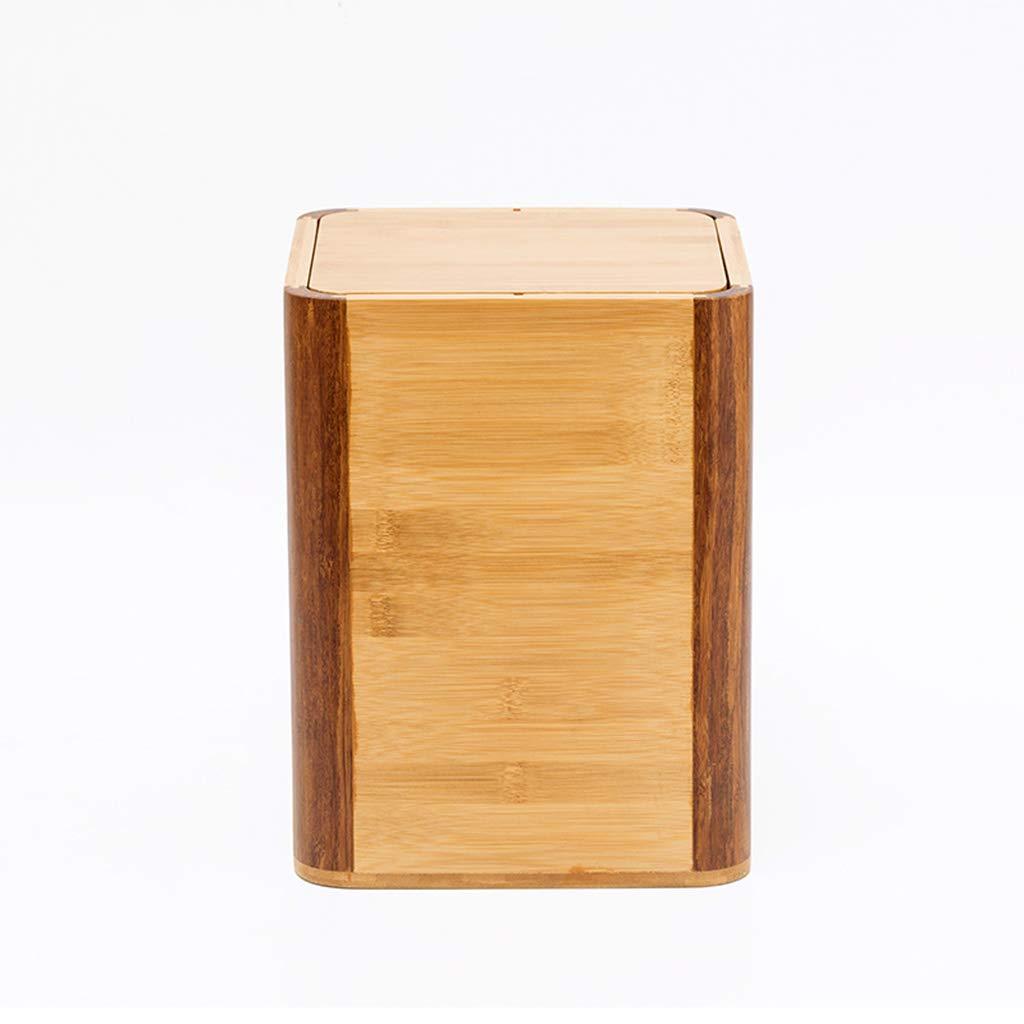 Wastebin,Rubbish bin Creative Home Bamboo Wood Trash can Debris Storage Basket Hotel Office Paper Basket