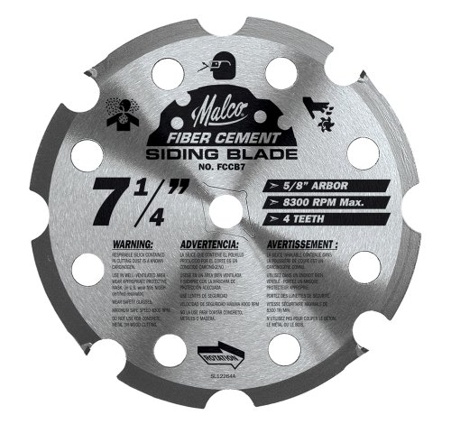 Malco FCCB7 7-1/4-Inch 4 Tooth PCD Fiber Cement Saw Blade with 5/8-Inch and Diamond Knockout Arbor