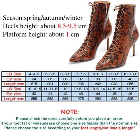 8.5-9.5Cm Tacco Alto, Le Donne A Punta Plus Size Spillo Lace-Up Autunno Inverno Stivaletti per Office Party Night Club (34-46),2,36