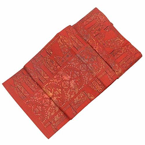 電子迷惑アラブ人(着物ひととき) リサイクル 名古屋帯 中古 正絹 八寸 なごやおび 紬地 正倉院文様 赤系 ll1643b