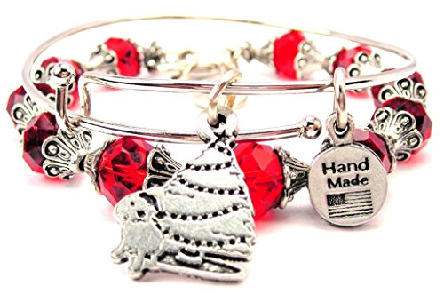 Puppy Under The Christmas Tree Collection Crystal Bangle Set in Crimson Red