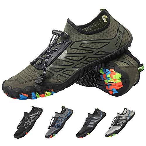 Female Water - Camfosy Men Women Water Shoes Slip On Quick Dry Barefoot Aqua Socks Swim Shoes Pool Beach Yoga Walking Running Shoes Green 11 M US Women / 8.5 M US Men