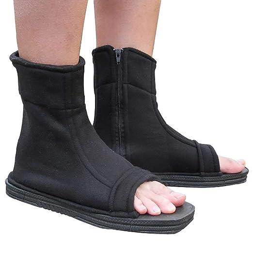 KT-SUPPLY Naruto Konoha Ninja Village Shippuuden Cosplay Ninja Zapatos/Sandalias Botas Zapatos de Kakashi Disfraz Disfraz Accesorios Negro