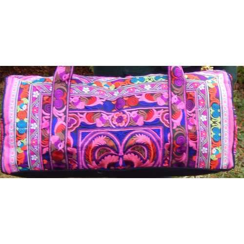 Medium Hand-Made Embroidered Duffle Tote Bag for Knitting or Travel by Plymouth Yarn Company - PINK